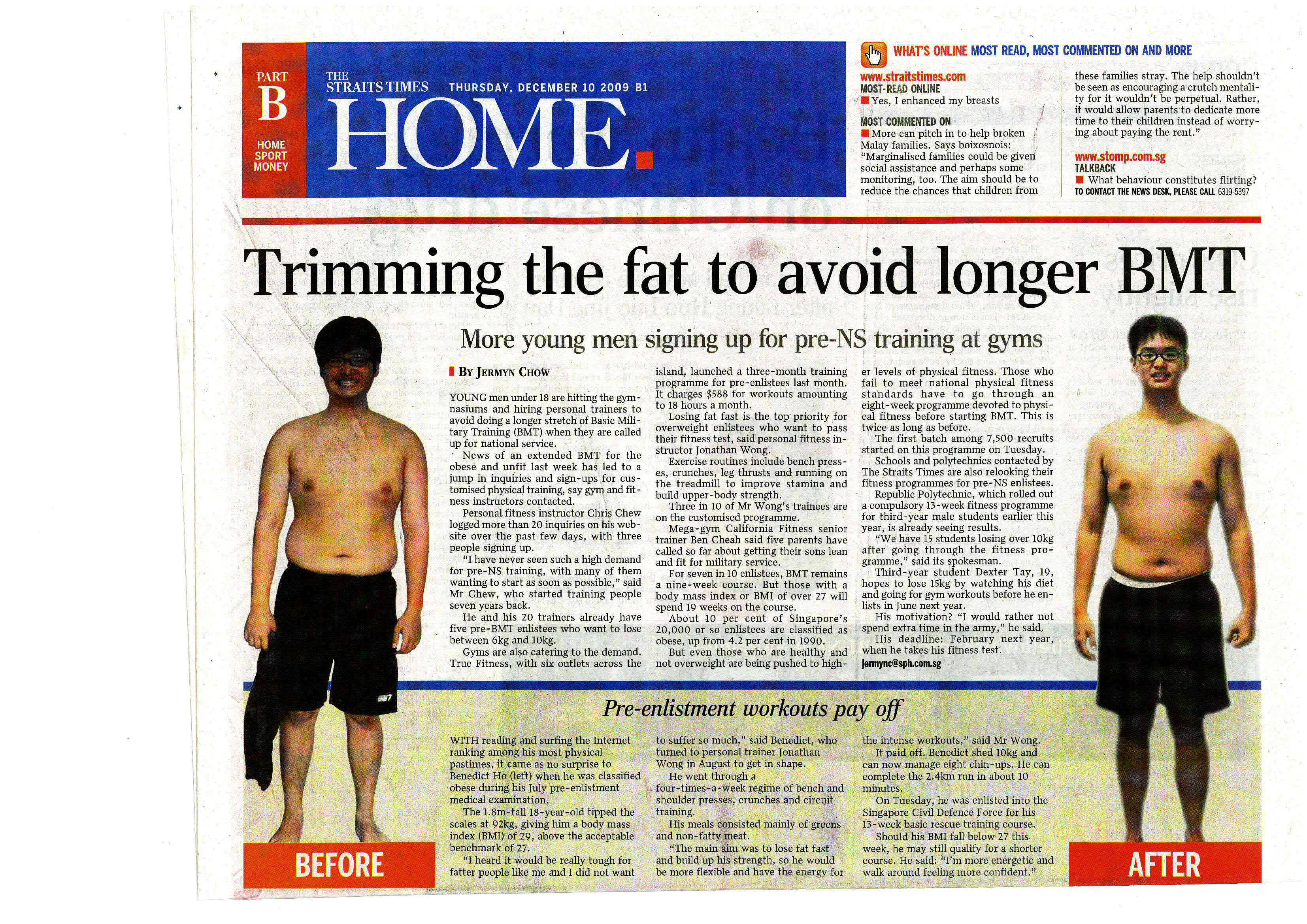 The STRAITS TIMES Article: Trimming the fat to avoid longer BMT.